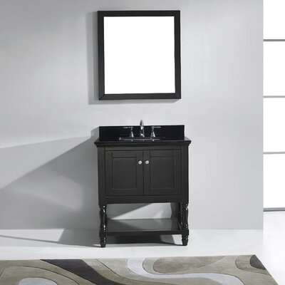 Julianna 33 Single Bathroom Vanity Set with Black Galaxy Top and Mirror Base Finish: Gray, Sink Shape: Round