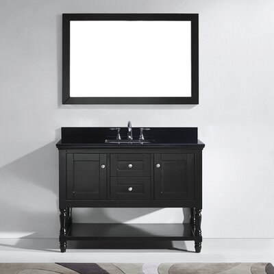 Julianna 49 Single Bathroom Vanity Set with Black Galaxy Top and Mirror Base Finish: White, Sink Shape: Round