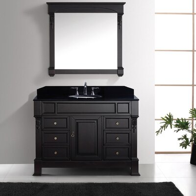 Victoria 47 Single Bathroom Vanity Set with Black Galaxy Top and Mirror Base Finish: White, Sink Shape: Square