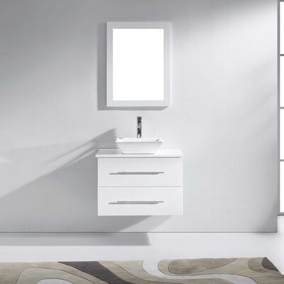Decastro 30 Single Bathroom Vanity Set with White Stone Top and Mirror Base Finish: White