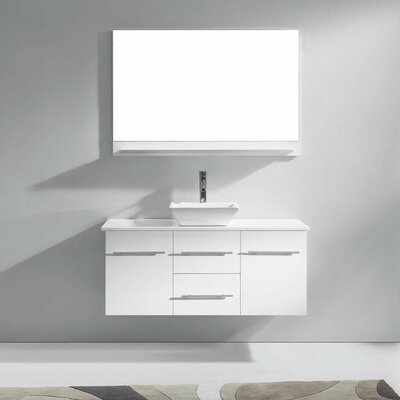 Ultra Modern 47 Single Bathroom Vanity Set with White Stone Top and Mirror Base Finish: White