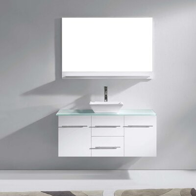 Decastro 47 Single Bathroom Vanity Set with Tempered Glass Top and Mirror Base Finish: White