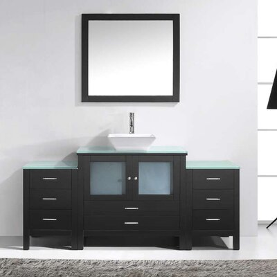 Brentford 71 Single Bathroom Vanity Set with Tempered Glass Top and Mirror Faucet Finish: Polished Chrome