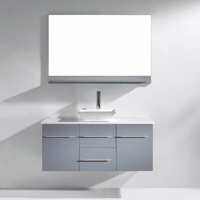 Decastro 47 Wall-Mount Single Bathroom Vanity Set with Mirror Base Finish: Gray