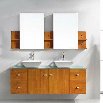 Decastro 61 Double Bathroom Vanity Set with Tempered Glass Top and Mirror