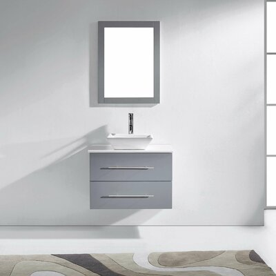 Ultra Modern 30 Single Bathroom Vanity Set with White Stone Top and Mirror Base Finish: Gray