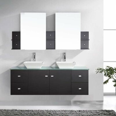 Decastro Modern 61 Double Bathroom Vanity Set with Tempered Glass Top and Mirror