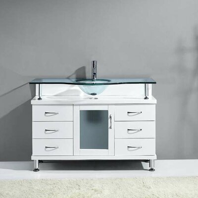 Runion 48 Single Bathroom Vanity Set with Frosted Tempered Glass Top Base Finish: White