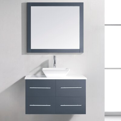 Decastro 35 Single Bathroom Vanity Set with White Stone Top and Mirror Base Finish: Gray, Faucet Finish: Polished Chrome