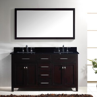 Templeton 60 Double Bathroom Vanity Set with Black Galaxy Top and Mirror Base Finish: White, Sink Shape: Square