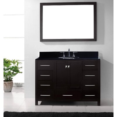 Melba 49 Single Bathroom Vanity Set with Black Galaxy Top and Mirror Base Finish: Espresso, Sink Shape: Square