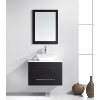 Decastro 30 Single Bathroom Vanity Set with White Stone Top and Mirror Base Finish: Dark Walnut
