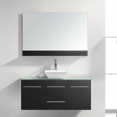 Ultra Modern 47 Single Bathroom Vanity Set with Tempered Glass Top and Mirror Base Finish: Black