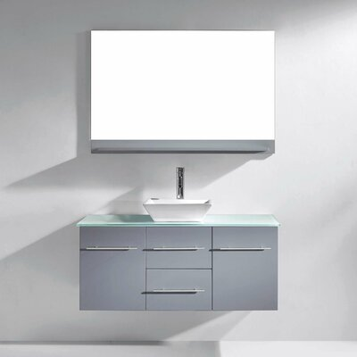 Decastro 47 Single Bathroom Vanity Set with Tempered Glass Top and Mirror Base Finish: Gray