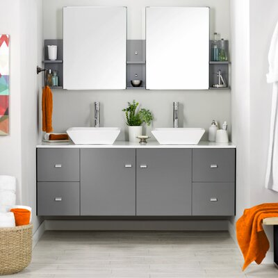 Ultra Modern 61 Double Bathroom Vanity Set with White Stone Top and Mirror Base Finish: Gray