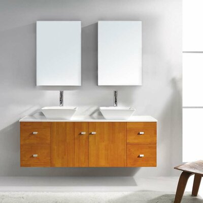 Decastro 61 Double Bathroom Vanity Set with White Stone Top and Mirror Base Finish: Honey Oak