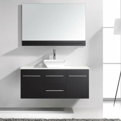 Ultra Modern 47 Single Bathroom Vanity Set with White Stone Top and Mirror Base Finish: Black