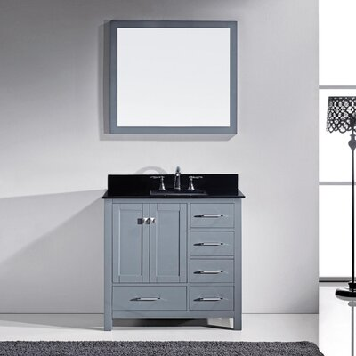 Melba 37 Single Bathroom Vanity Set with Black Galaxy Top and Mirror Base Finish: Gray, Sink Shape: Round
