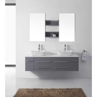 Augustine 60 Double Bathroom Vanity Set with White Stone Top and Mirror Base Finish: Gray, Faucet Finish: Polished Chrome