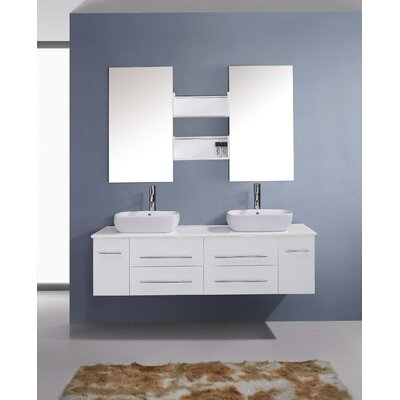 Augustine 60 Double Bathroom Vanity Set with White Stone Top and Mirror Base Finish: White, Faucet Finish: Brushed Nickel