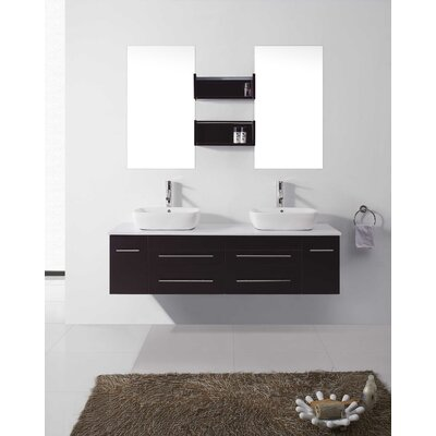 Augustine 60 Double Bathroom Vanity Set with White Stone Top and Mirror Base Finish: Espresso, Faucet Finish: Brushed Nickel