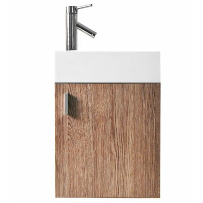 Carino 16 Single Bathroom Vanity Set with White Top Base Finish: Light Oak, Faucet Finish: Polished Chrome