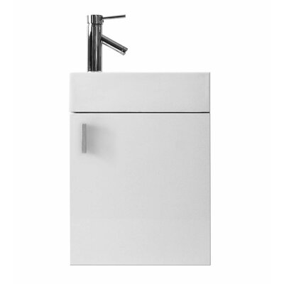 Carino 16 Single Bathroom Vanity Set with White Top Base Finish: Gloss White, Faucet Finish: No Faucet