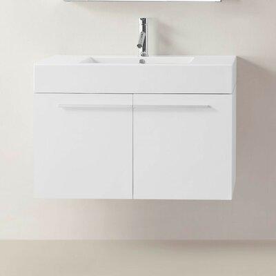 Frausto 35 Wall-Mount Single Bathroom Vanity Set Base Finish: Gloss White
