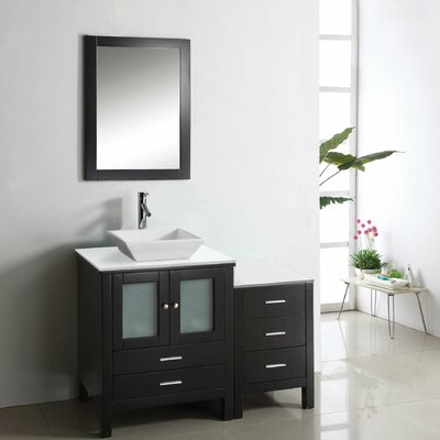 Brentford 45 Single Bathroom Vanity Set with White Stone Top and Mirror