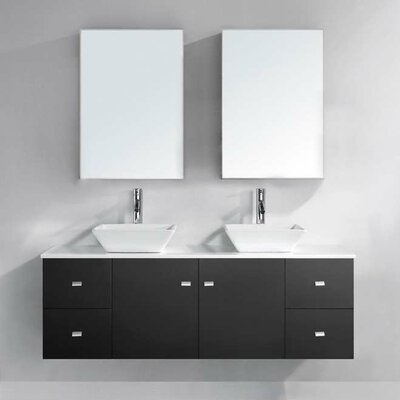 Decastro 61 Double Bathroom Vanity Set with White Stone Top and Mirror Base Finish: Espresso