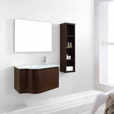 Roselle 35 Single Floating Bathroom Vanity Set with Ceramic Top and Mirror Base Finish: Walnut
