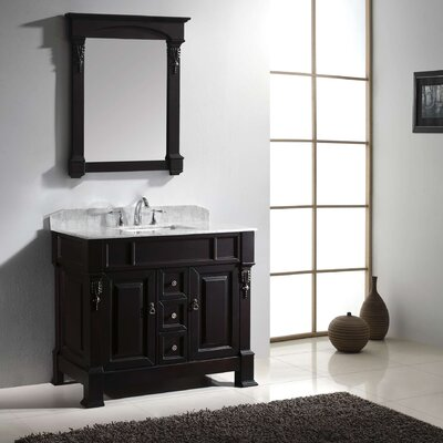 Huntshire 40 Single Bathroom Vanity Set with White Marble Top and Mirror Base Finish: Dark Walnut
