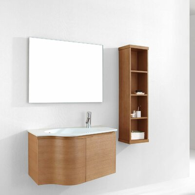 Roselle 35 Single Floating Bathroom Vanity Set with Ceramic Top and Mirror Base Finish: Chestnut