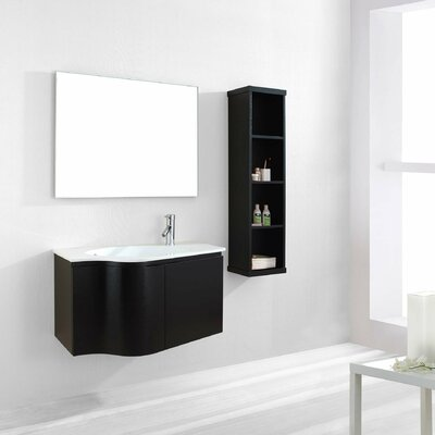 Allison 35 Single Floating Bathroom Vanity Set with Ceramic Top and Mirror Base Finish: Espresso