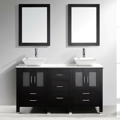Bradford 60 Double Bathroom Vanity Set with White Stone Top and Mirror Base Finish: Espresso, Faucet Finish: Polished Chrome