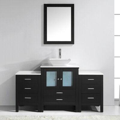 Brentford 63 Single Bathroom Vanity Set with White Stone Top and Mirror Faucet Finish: Brushed Nickel