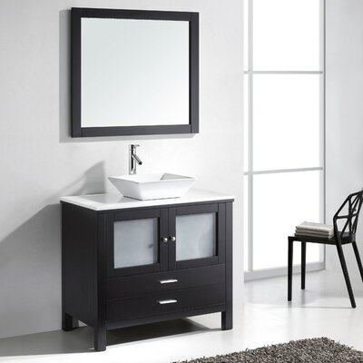 Brentford 36 Single Bathroom Vanity Set with White Stone Top and Mirror Faucet Finish: Brushed Nickel
