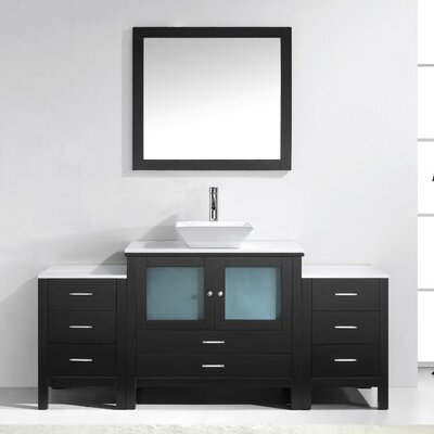 Brentford 71 Single Bathroom Vanity Set with White Stone Top and Mirror Faucet Finish: Brushed Nickel