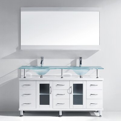 Rocco 61 Double Bathroom Vanity Set with Frosted Tempered Glass Top and Mirror Base Finish: White, Faucet Finish: Polished Chrome