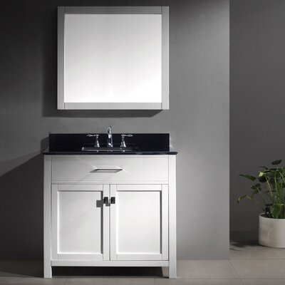 Templeton 35.8 Single Bathroom Vanity Set with Black Galaxy Top and Mirror Base Finish: White, Sink Shape: Square