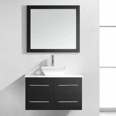 Decastro 35 Single Bathroom Vanity Set with White Stone Top and Mirror Base Finish: Espresso, Faucet Finish: Brushed Nickel