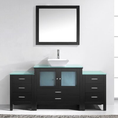 Brentford 71 Single Bathroom Vanity Set with Tempered Glass Top and Mirror Faucet Finish: Brushed Nickel