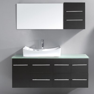 Marsala 55 Single Bathroom Vanity Set with Tempered Glass Top and Mirror Base Finish: Gray, Faucet Finish: Brushed Nickel