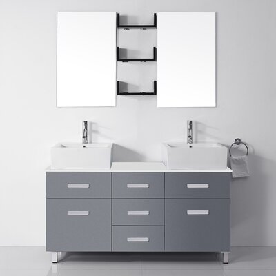 Ultra Modern Series 56 Double Bathroom Vanity Set with White Stone Top and Mirror Base Finish: White, Faucet Finish: Brushed Nickel