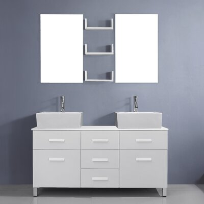 Ultra Modern Series 56 Double Bathroom Vanity Set with White Stone Top and Mirror Base Finish: White, Faucet Finish: Polished Chrome