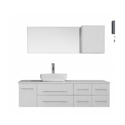 Justine 59 Single Bathroom Vanity Set with White Stone Top and Mirror Base Finish: Gray, Faucet Finish: Polished Chrome