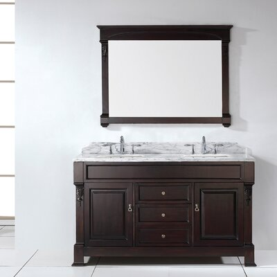 Huntshire 59 Double Bathroom Vanity Set with White Marble Top and Mirror Base Finish: Dark Walnut, Faucet Finish: Brushed Nickel, Sink Shape: Square