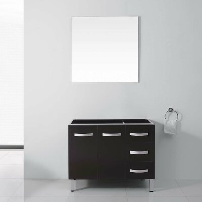 Ultra Modern Series 37 Single Bathroom Vanity Set with White Marble Top and Mirror Base Finish: Gray, Faucet Finish: Brushed Nickel