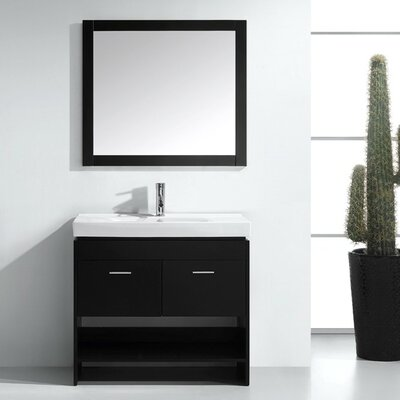 Frausto 35 Single Bathroom Vanity Set with Ceramic Top and Mirror Base Finish: White, Faucet Finish: Brushed Nickel