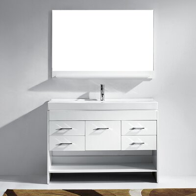 Carstens 47 Single Bathroom Vanity Set with Ceramic Top and Mirror Base Finish: Espresso, Faucet Finish: Polished Chrome